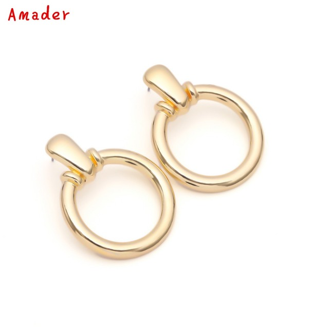 Punk Style Gold Color And Silver Circle Creole Earrings Stainless Steel Round Wives Hoop