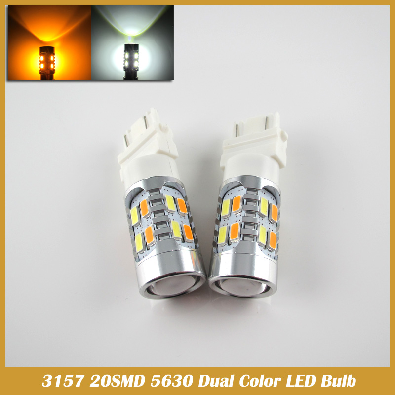 2pcs 3157 20SMD DUAL COLOR SWITCHBACK WHITE AMBER TURN SIGNAL LED LIGHT 5630 car light 2x dual color switchback 3157 20 smd 5730 led bulbs turn signal light high power
