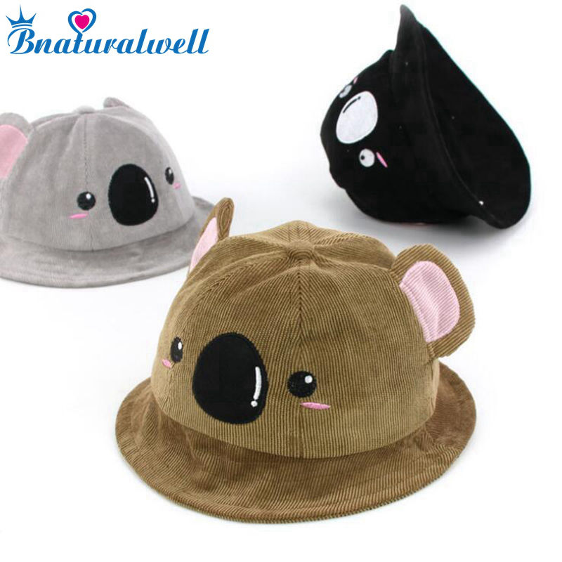 Bnaturalwell Bucket Hats for Kids Embroidered Koala Cotton Sun Hats Child  girls Fish Bucket Hat Gender 58b87282df97