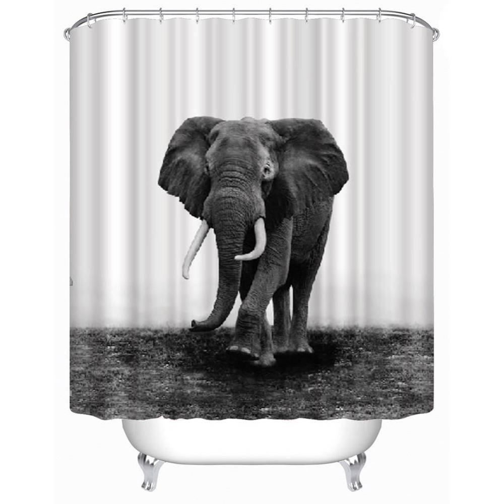 3D Elephant/Space Shower Curtain Bathroom Waterproof Polyester Fabric Curtain with 12 White C hook