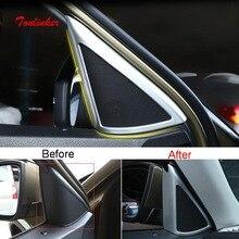 Tonlinker Interior Car Door triangle Speaker Cover Sticker for SKODA KODIAQ 2017-19 Styling 2 PCS ABS Chrome sticker