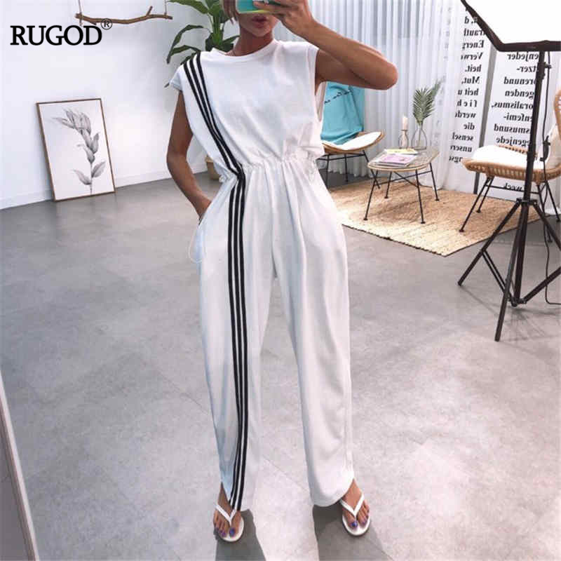 RUGOD Summer Playsuits Women Fashion Striped Patchwork Elastic Waist Bodysuits Sexy Backless Wide Leg Pants   Jumpsuits   2019