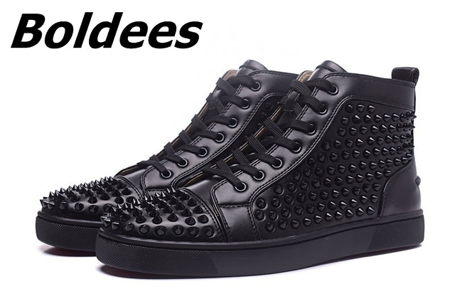 Boldees Tennis Men Sportswear Black Party Shoes Suede Spikes Studded Shoes Men Brand High Top Casual Shoes Flats Sneakers - 4