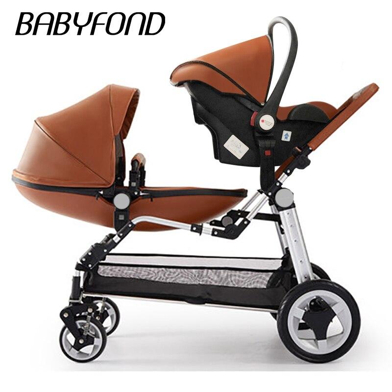 Carrinhos de bebê Gêmeo de alta qualidade luxo pu carrinho de bebê pode se sentar e deitado de dobramento de quatro rodas carrinho duplo carrinho de bebê da marca