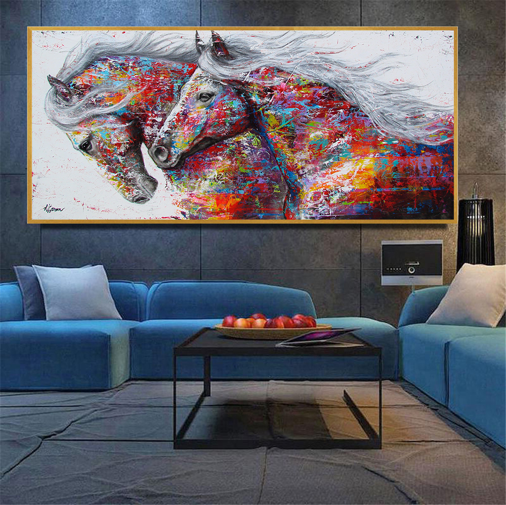 Abstract oil painting large size canvas horse poster - Living room wall decor pictures ...