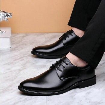 b2b10f1c Zapatos de boda negros de charol clásico de marca de lujo para Hombre  Zapatos formales de Oxford Zapatos de vestir de punta estrecha para hombre  LC-32