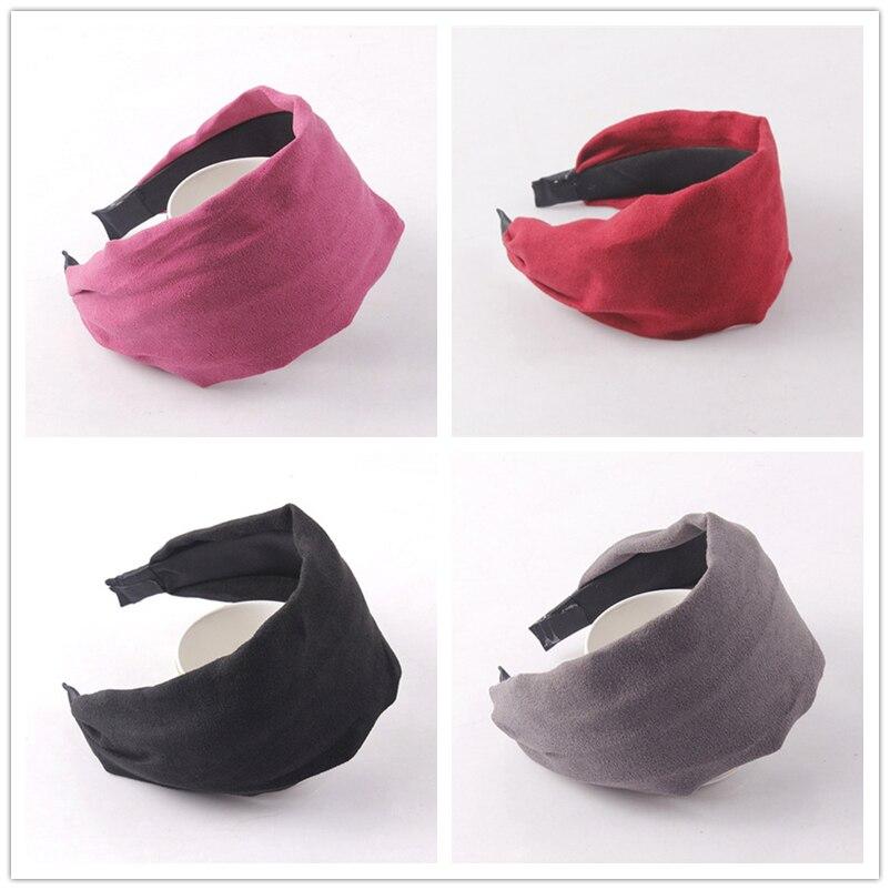 Cloth hairband Solid Color hairbands headbands for women girl Wide Head Hoop Simple Hair Accessories scrunchy headdress   Headwear