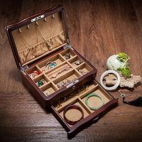 Europe vintage Solid wooden collection Jewelry Box Double drawer storage box toys organizer desktop storage With lock MSSH002