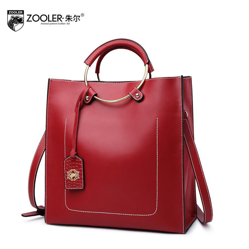 ZOOLER 2017 New  Superior cowhide Genuine Leather fashion luxury handbags women bags designer Tote women handbags shoulder bag