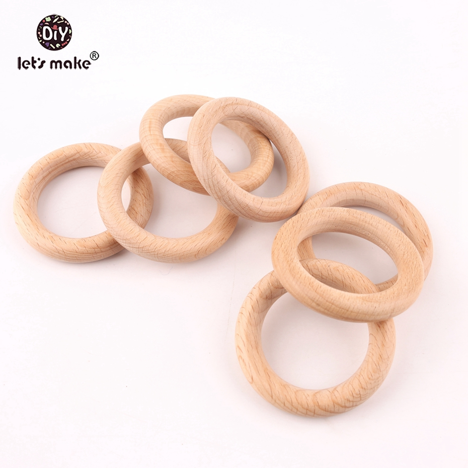 Let's make 50pcs Wholesale New Size Teething Beech Wooden Rings Food Grade 60mm Teethers Nursing Necklace Accessories Teether
