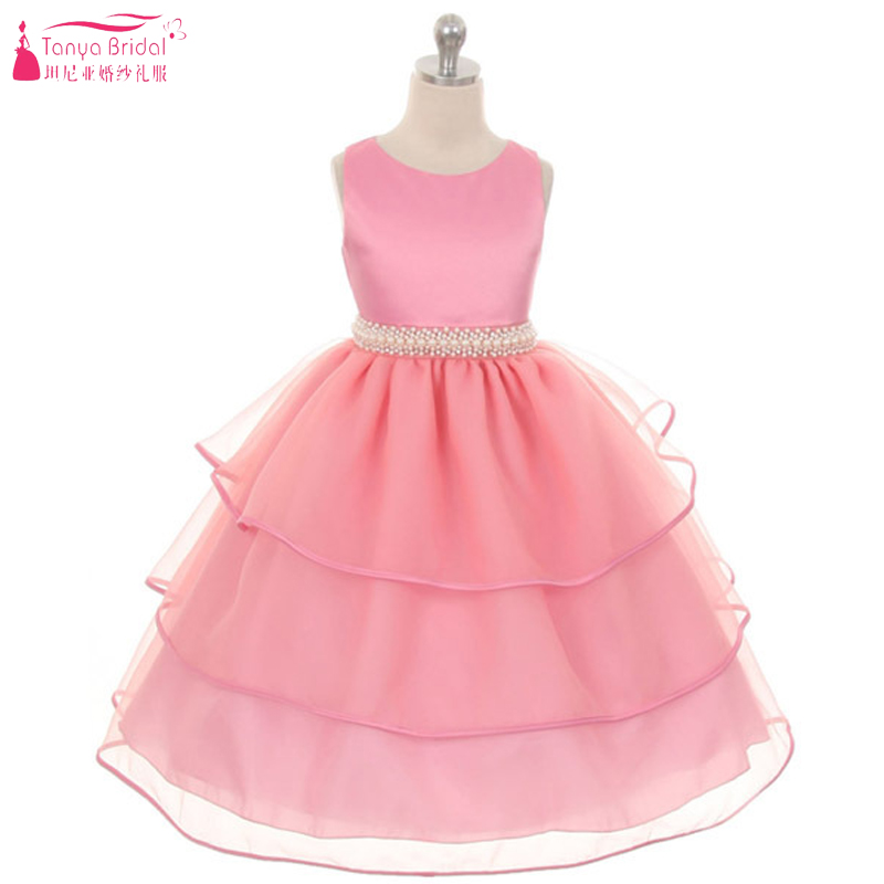 Pink Tiered Skirt   Flower     Girls     Dresses   2018 Real In Stock Pearls Princess Kids Pagent   Dress   Formal Party Wear ZF042