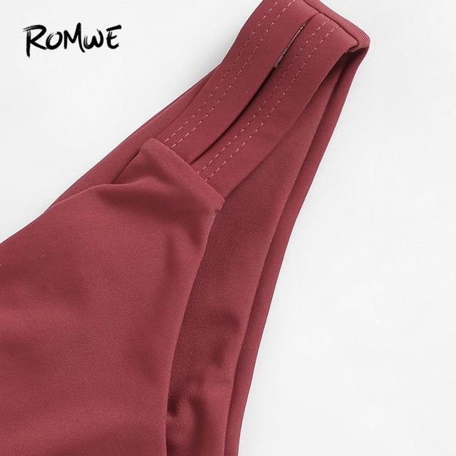 Romwe Sport ржавчина, однотонный топ с v-образным вырезом, бикини с рюшами, набор, пляжный отдых, с глубоким вырезом, треугольник, женские летние ку... 4