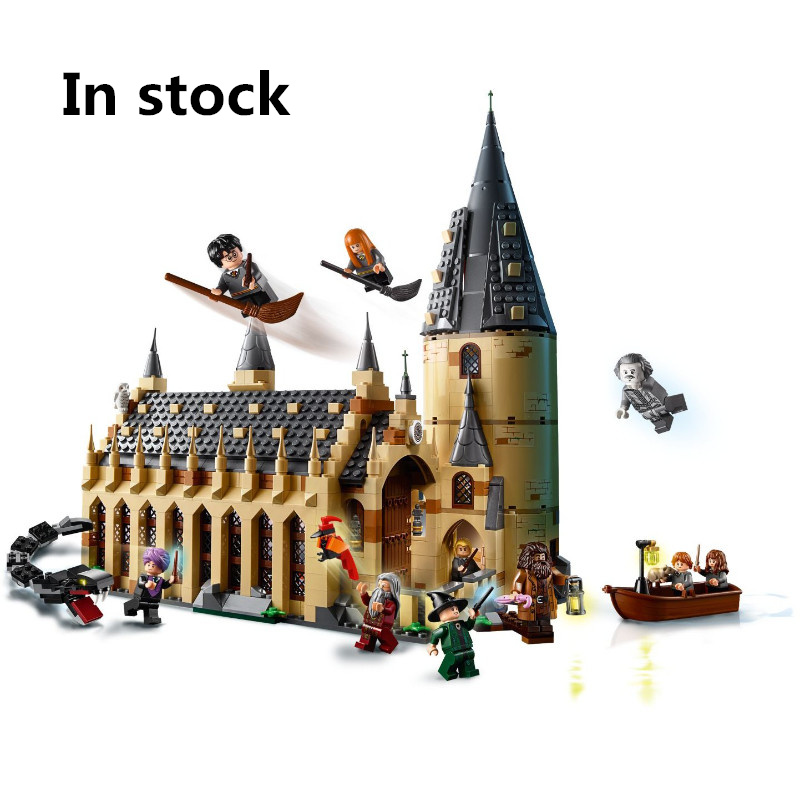 New Compatibility Legoing Harry Potter Serices Hogwarts Great Hall Harry Potter train Building Blocks Bricks Toys Gift for kids