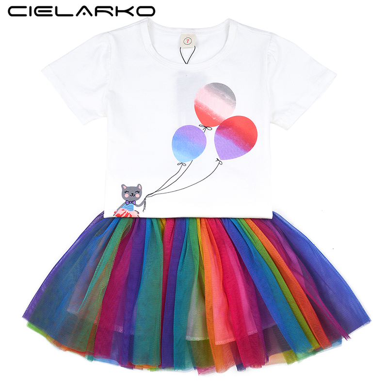 a18309ee9b491 Cielarko Girls Rainbow Clothing Set Summer Short Sleeve 2pcs Kids ...