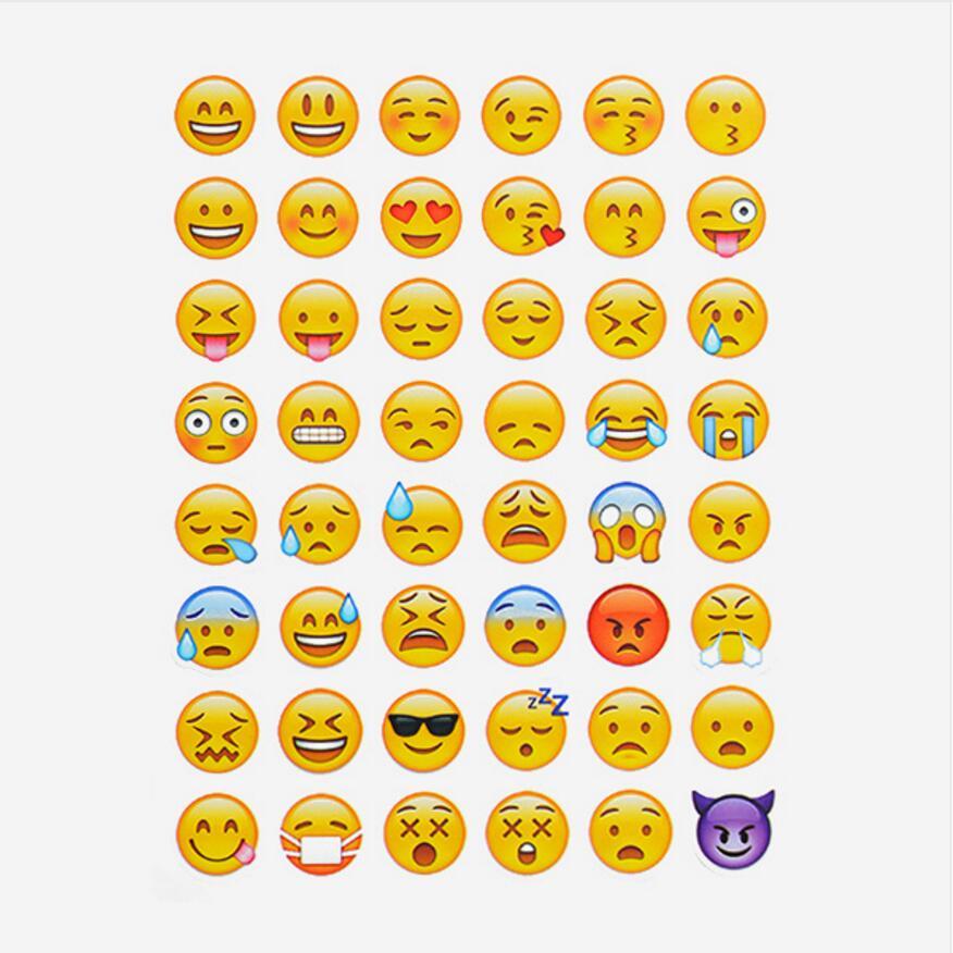 1 sheet cut sticker 48 Emoji Smile face stickers for notebook, message Twitter Large Viny Instagram , message Twitter cm