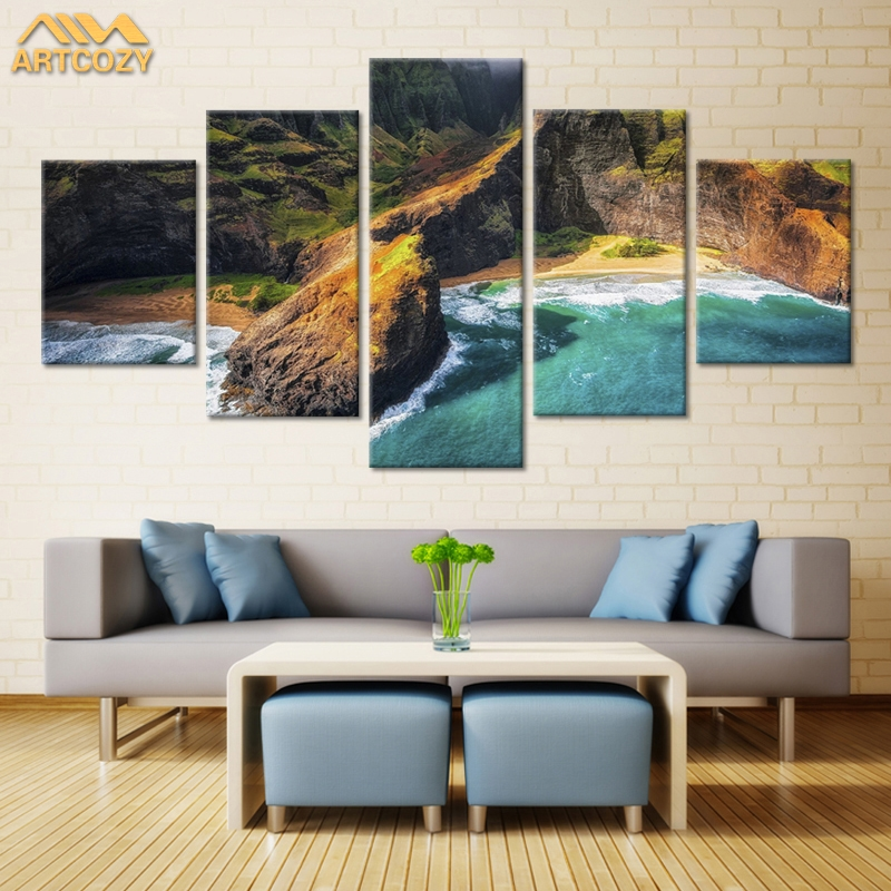 Artcozy 5Panel Canvas Art Painting Spray Printings Mountains And Rivers Wall Picture Home Decoration Paint Waterproof