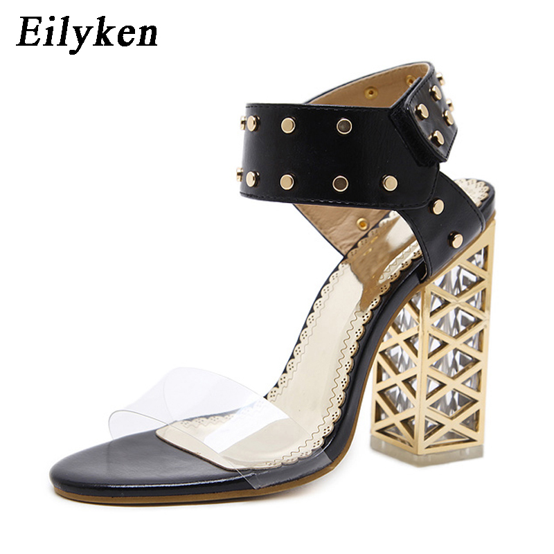 Eilyken Fashion Rivet Women Sandals Clear Heel Crystal Hook   Loop Pumps  PVC Sandals Rome Sandals For Women White Black-in High Heels from Shoes on  ... 8e2c49ad03a8