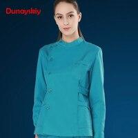 Europe Fashion Medical Suit Lab Coats Women Long Sleeves Hospital Scrub Uniforms Set Design Slim Breathable Medical Uniform