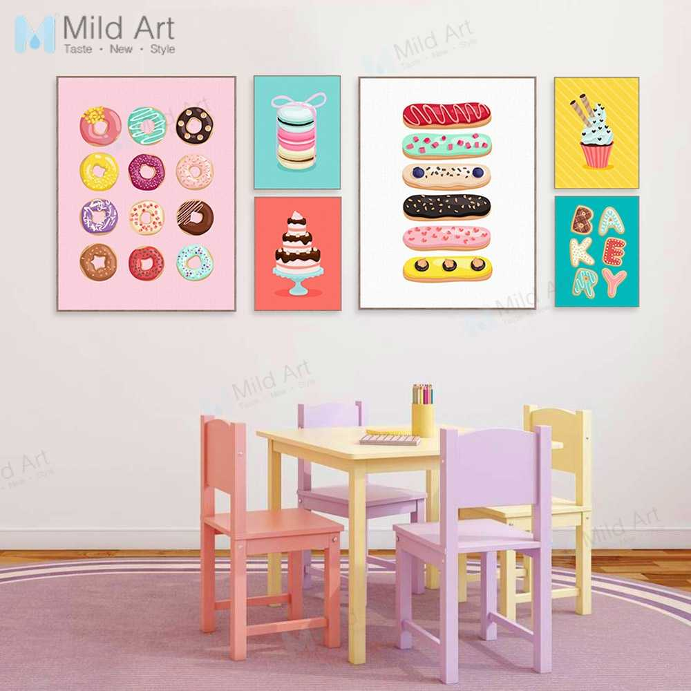 Color Kawaii Cakes Sweet Food Doughnut Posters Prints Grils Kids Room Wall Art Pictures Cafe Kitchen Home Decor Canvas Paintings