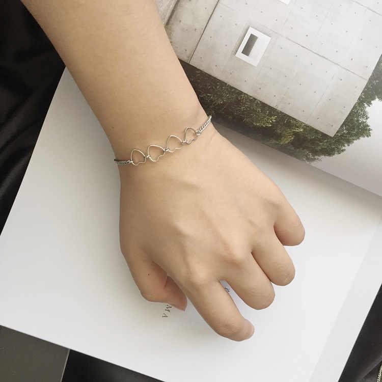 Punk 2018 ใหม่แฟชั่นสร้อยข้อมือ Simple ทอง/Silver Series 4 Love Texture สุภาพสตรีสร้อยข้อมือขายส่งสร้อยข้อมือ