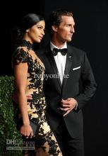 free shipping 2013 vestido Custom Camila Alves Attends the Oscar After-Party High Collar Lace Applique champagne Celebrity dress