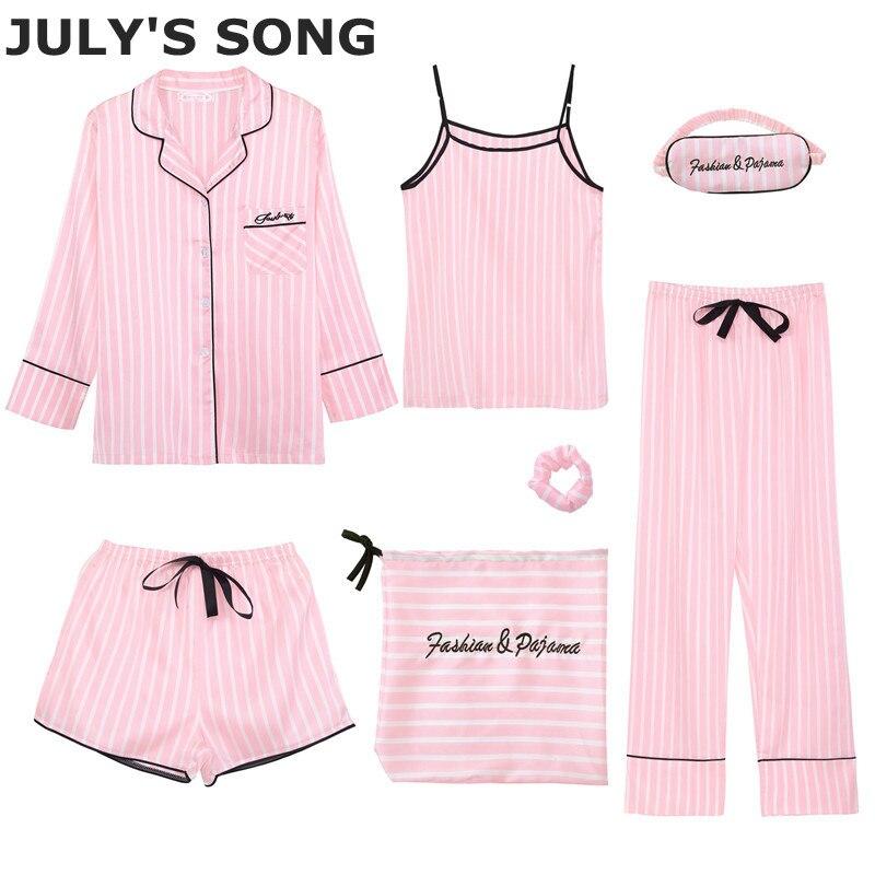 JULY'S CHANSON Rose Femmes de 7 pièces Pyjamas Ensembles Émulation Soie Rayé Pyjamas Femmes Vêtements De Nuit Printemps Été Automne Homewear
