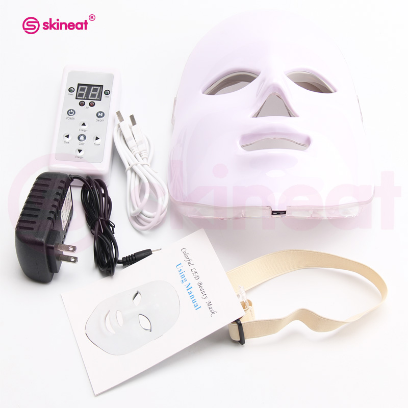 Skineat 7 Color LED Mask Facial Therapy Anti-Wrinkle Machine Acne Removal Beauty Spa Device Skin Rejuvenation White Face Masker
