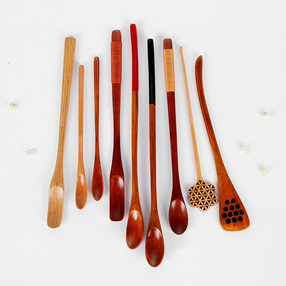 1PC New Coffee Long Handle Wooden Spoon Dining Soup Household Items Tableware Stirring Honey Tea Scoops Nanmu Paint Color