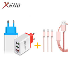 Phone Charger 3 USB for iPhone Xiaomi EU 1m 3in1 Type C Micro Cable Charging Adapter