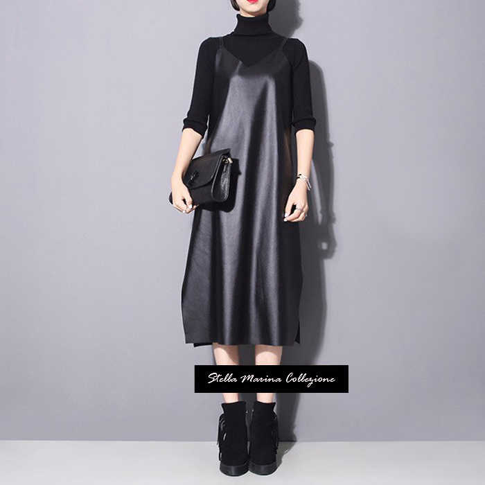 Женское платье на бретельках, длинное черное платье-комбинация из экокожи без рукавов с V-образным вырезом и разрезами по бокам, модель 746, 2019