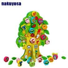 Montessori 3D DIY Colourful Wooden Animal Fruit Tree House Stringing Beads Baby Birthday Gift Children