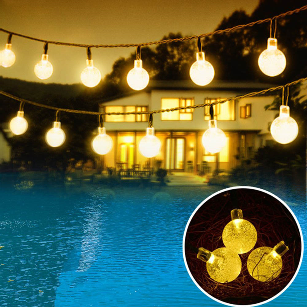 ECLH 5M 20LED Crystal Ball LED String Solar Panels Waterproof Outdoor Lighting String Fairy Light Garden Lights Solar Lamp