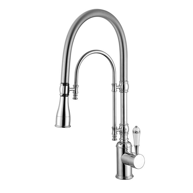 2017 New Arrival Premium Quality Chrome Sink Mixer Pull Down Spring Kitchen Faucet