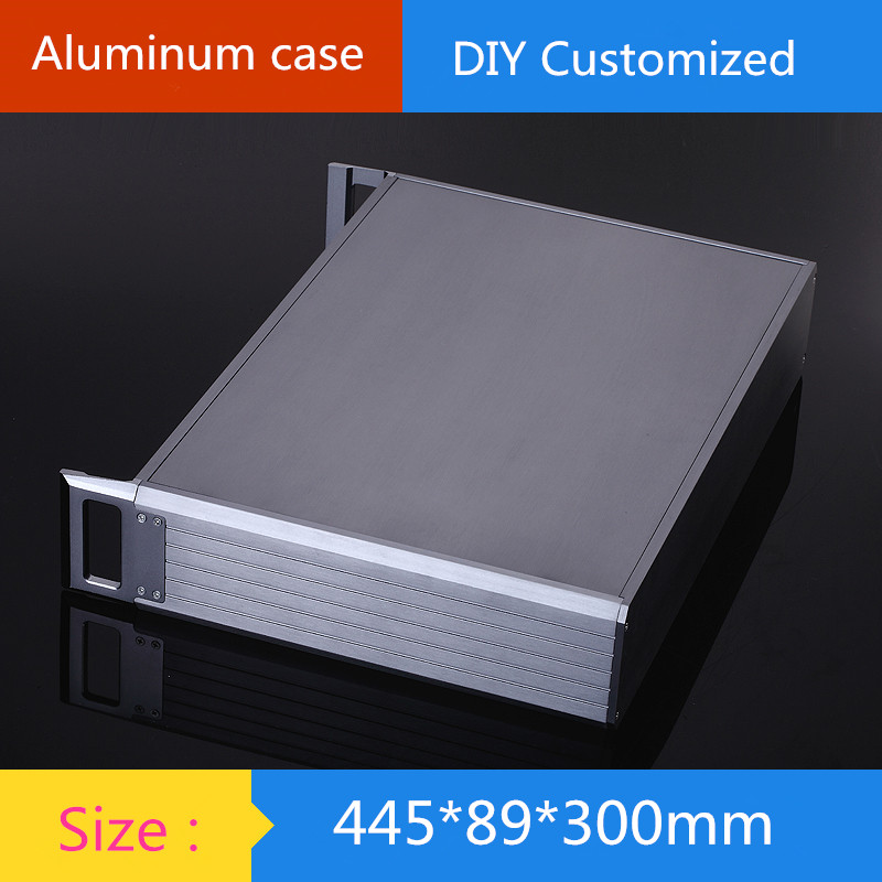 DIY amplifier case 445*89*300mm 2U aluminum amplifier chassis / Instruments Chassis / AMP Enclosure /amplifier case / DIY box цена