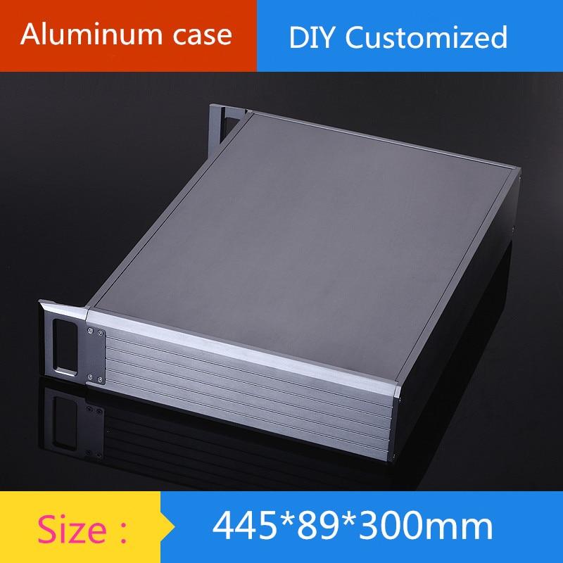 DIY amplifier case 445*89*300mm 2U aluminum amplifier chassis / Instruments Chassis / AMP Enclosure /amplifier case / DIY box 320 90 300mm aluminum audio chassis case enclosure diy box for amplifier hifi
