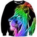 New Men hoodies Hip Hop Rainbow Lion Sweatshirt 6 Pattens 3D Lion Plus Size 6XL Sudaderas Hombre 2016 unisex pullovers