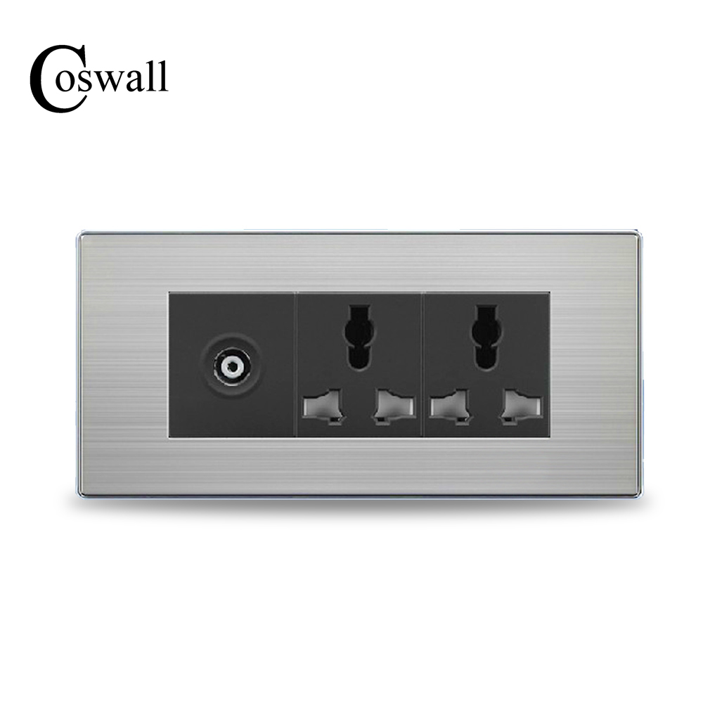 COSWALL Luxury Wall Double Socket Universal Power Outlet With TV Port Stainless Steel Brushed Silver Panel 154mm*72mm