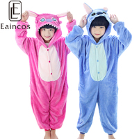 Unisex Children Kids Animal Onesie Jumpsuits All In One Pajamas Blue Pink Stich Cosplay Party Costume