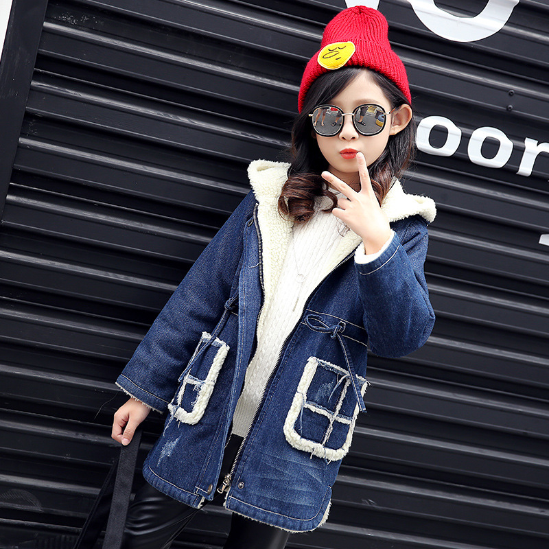 Winter Women Jacket 2018 Fashion Hooded Collar Coat Warm Printed Denim Jacket Female Outerwear Girl Casual Long Cotton Coats a suit of graceful artificial gem rhinestone oval necklace and earrings for women