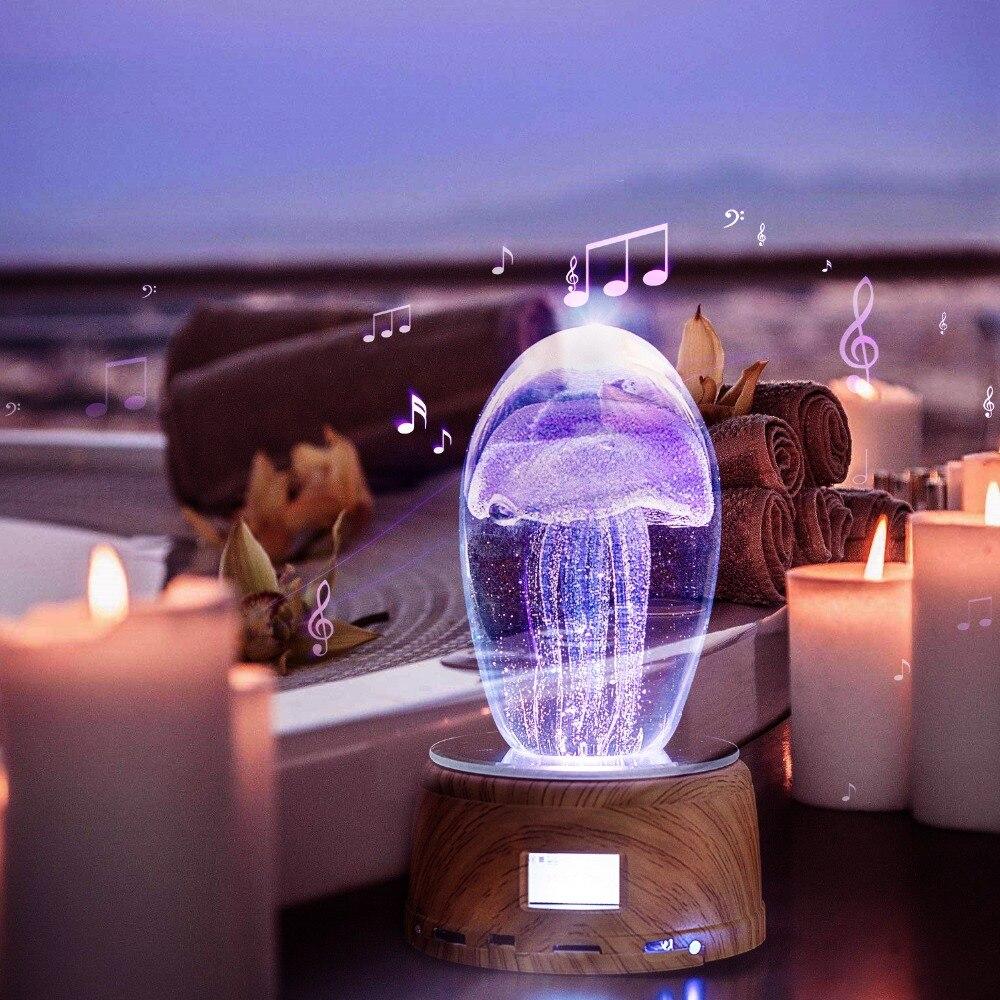 Cristal poisson Led veilleuse créative méduse lampe de Table 3D multicolore éclairage pour les lampes de décoration de salle de vacances avec télécommande