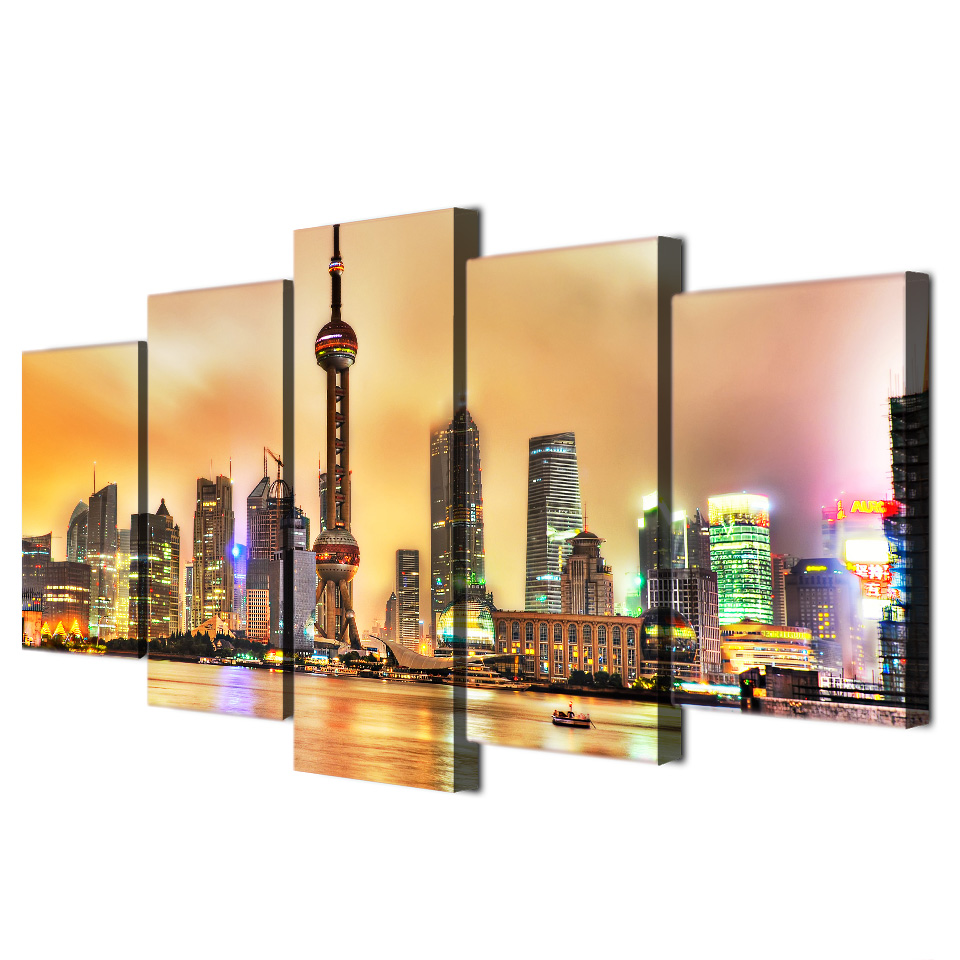 ArtSailing HD 5 piece canvas Printed modern city shanghai wall art ...