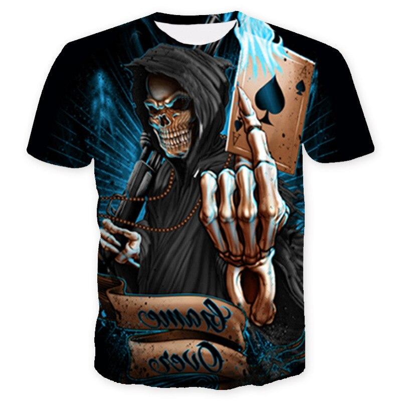 10 Verschiedene Arten Von Schädel Drucke T Shirt Männer Slim Fit Kurzarm Moto Kran T-shirt Tete De Mort Homme De Marque