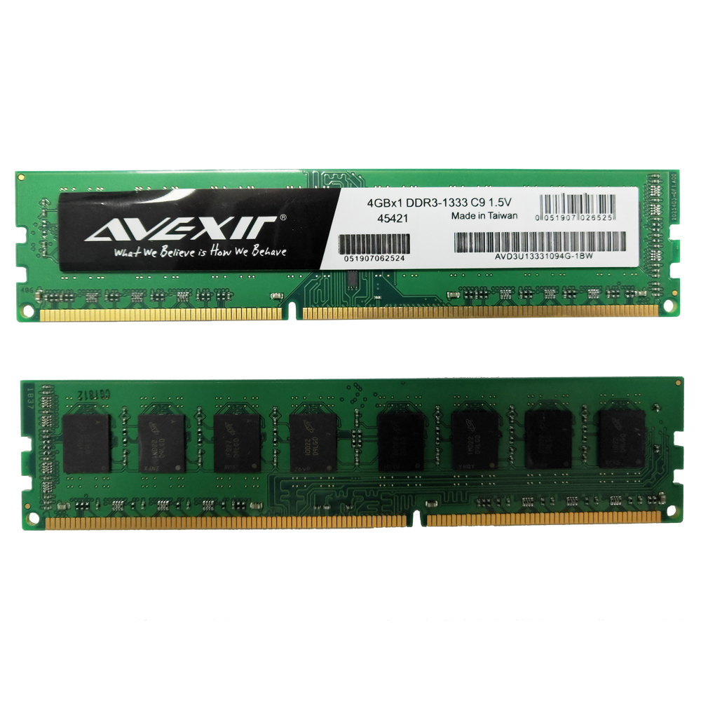 AVEXIR ram ddr3 4gb AMD Memory Frequency 1333MHz Desktop memory Interface Type 240pin 11-11-11-28 CL=11 ddr3 1333	Single RAMs 1