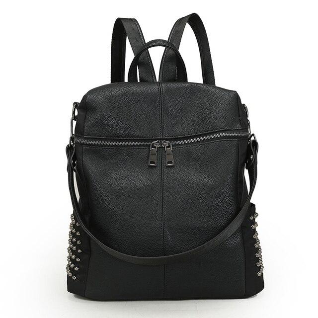 Rivet School Backpacks for Teenage Girls Women's Leather Backpack Escolar Adolescente Feminina Mochila de Couro Sac a Dos Teens