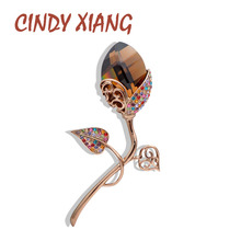 CINDY XIANG  2 Colors Choose Sparking Shining SW Crystal Flower Brooches for Women Fashion Elegant Luxury Pins High Quality Gift