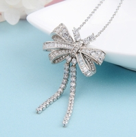 Brand Fashion Jewelry For Women Bowknot Tassel Neckalce Pendant Luck Wedding Party Necklace Good Quality Wholesale