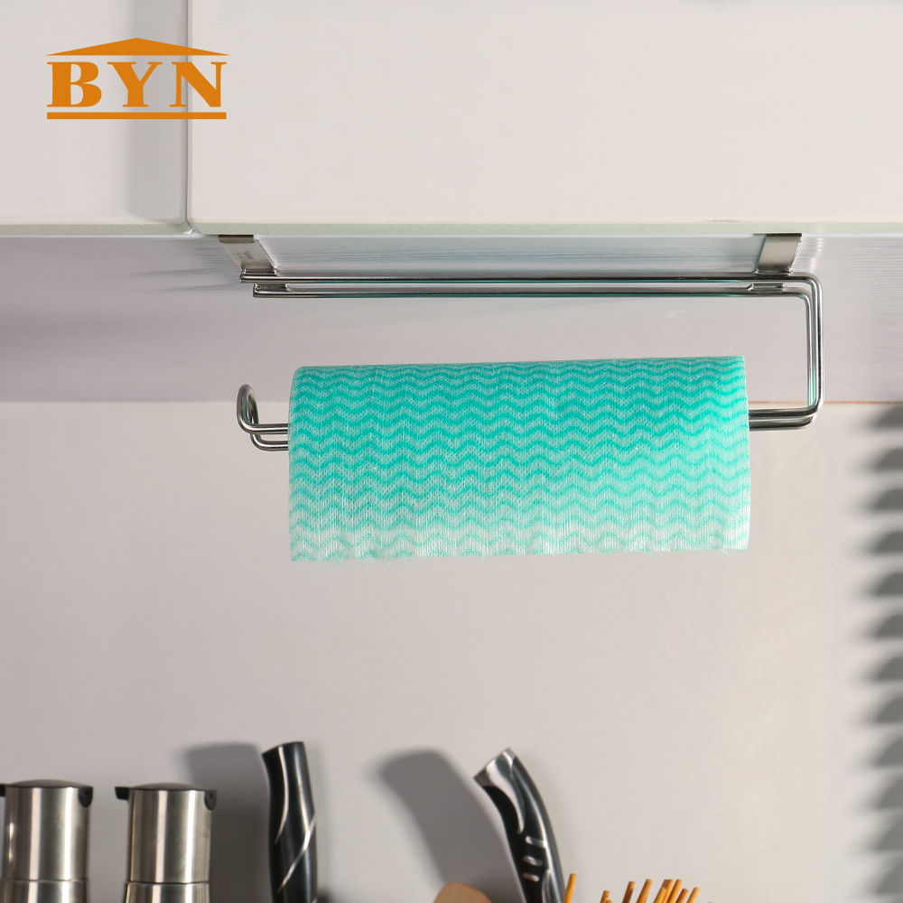 BYN Hook type stainless steel paper towel holder hanging kitchen ...
