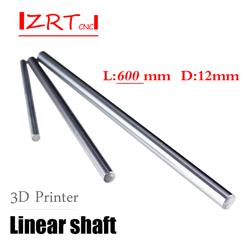 1Pcs 3D printer rod shaft WCS 12 mm linear shaft L 600 mm chrome plated linear motion guide rail round rod Shaft for cnc robot one pcs cnc linear shaft chrome od 10mm l 500mm wcs round harden steel rod bar cylinder linear rail for cnc parts