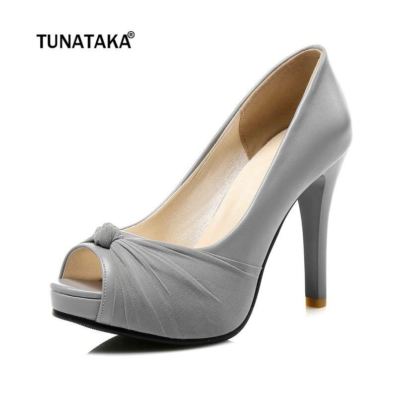 Women Fashion Peep Toe Thin High Heel Pumps Platform Party <font><b>Shoes</b></font> Woman Pink Beige Black <font><b>Gray</b></font>