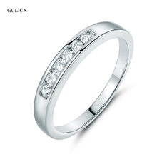 GULICX 2018 New Fashion Circle Pain Rings for Women Silver-color Paved Clear Crystal Stone CZ Zircon Wedding Jewelry Size 9 R045(China)